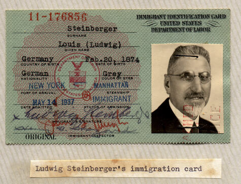 ImmigrationCard Ludwig Steinberger